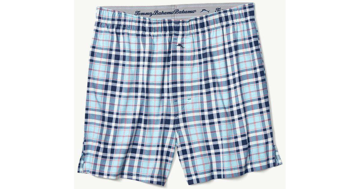 6e054a26cd6c Tommy Bahama Island Plaid Knit Boxers in Blue for Men - Lyst