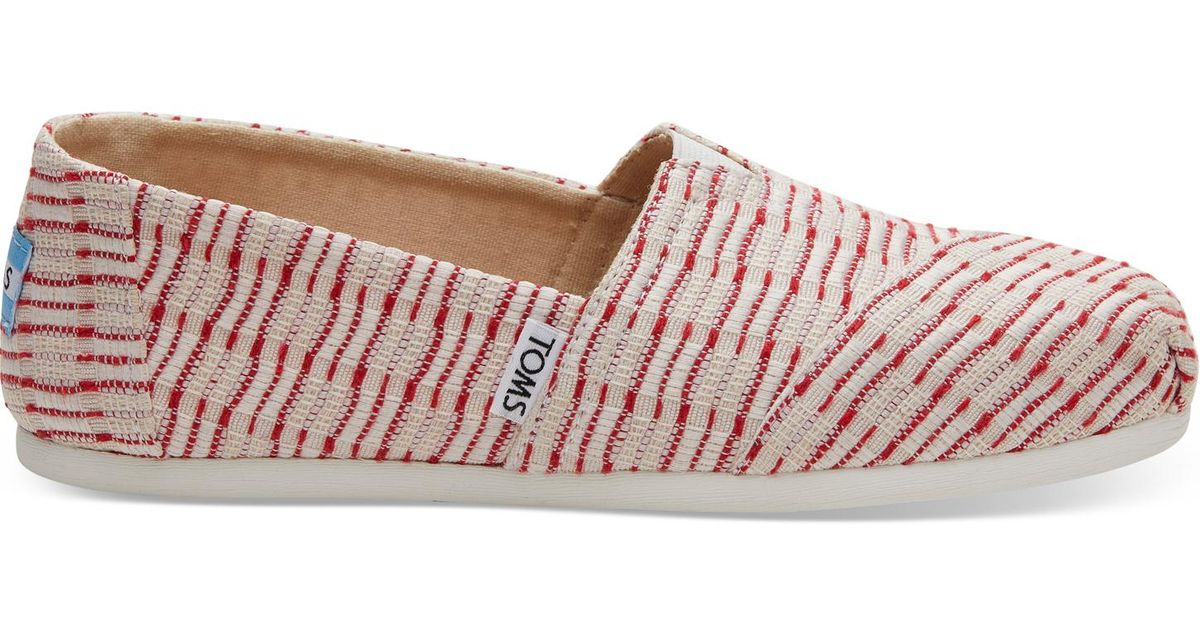 Lyst - TOMS Red Stripe Jacquard Women s Classics in Red 8dffad681