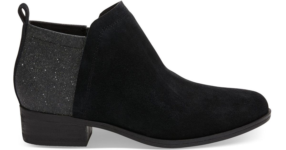 75eb368eb15 Lyst - TOMS Black Suede And Glimmer Women s Deia Booties in Black