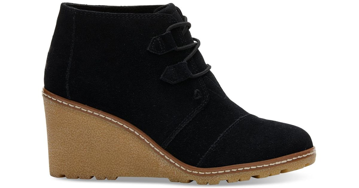 e88c24e056cc Lyst - Toms Black Suede With Faux Crepe Women s Desert Wedge Booties in  Black
