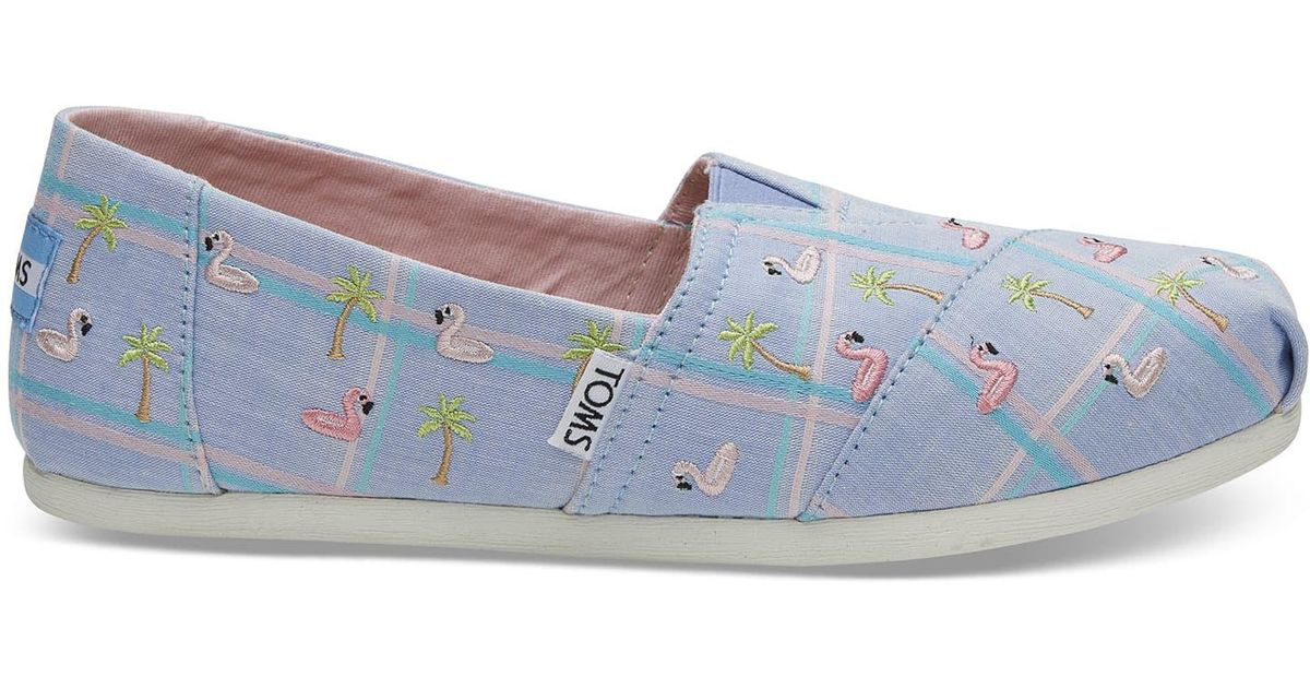 lyst toms blue madras embroidered flamingos women s classics in blue