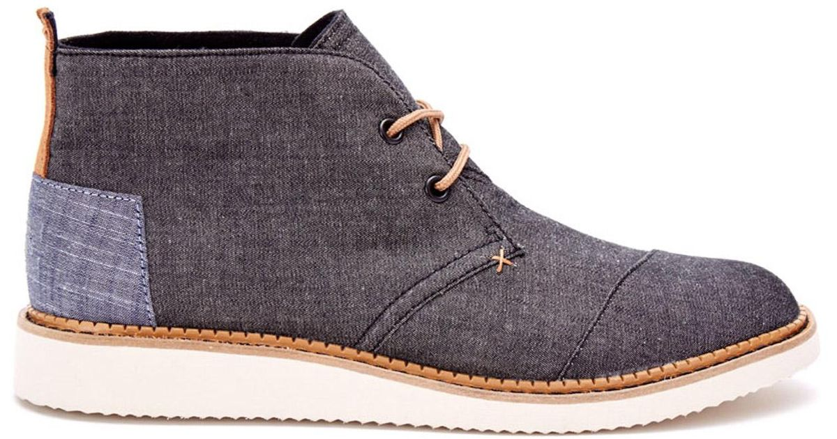 546d32ee67e TOMS Black Chambray Men s Mateo Chukka Boots in Black for Men - Lyst