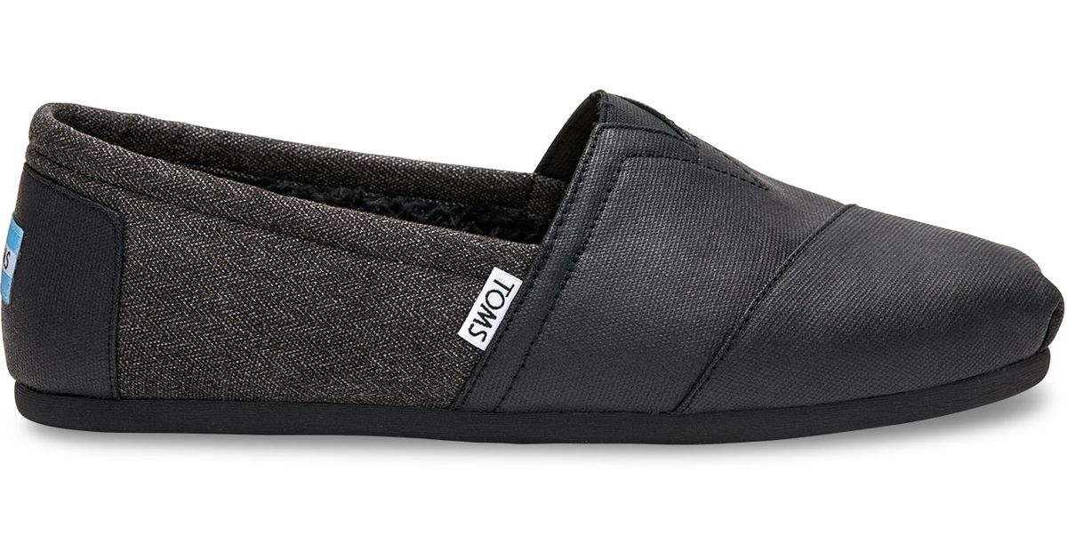 c7e8ea93a37 Lyst - TOMS Black Coated Canvas Herringbone Shearling Men s Classics in  Black for Men