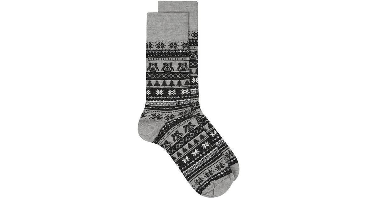 Topman Black And Gray Christmas Fair Isle Socks in Gray for Men | Lyst
