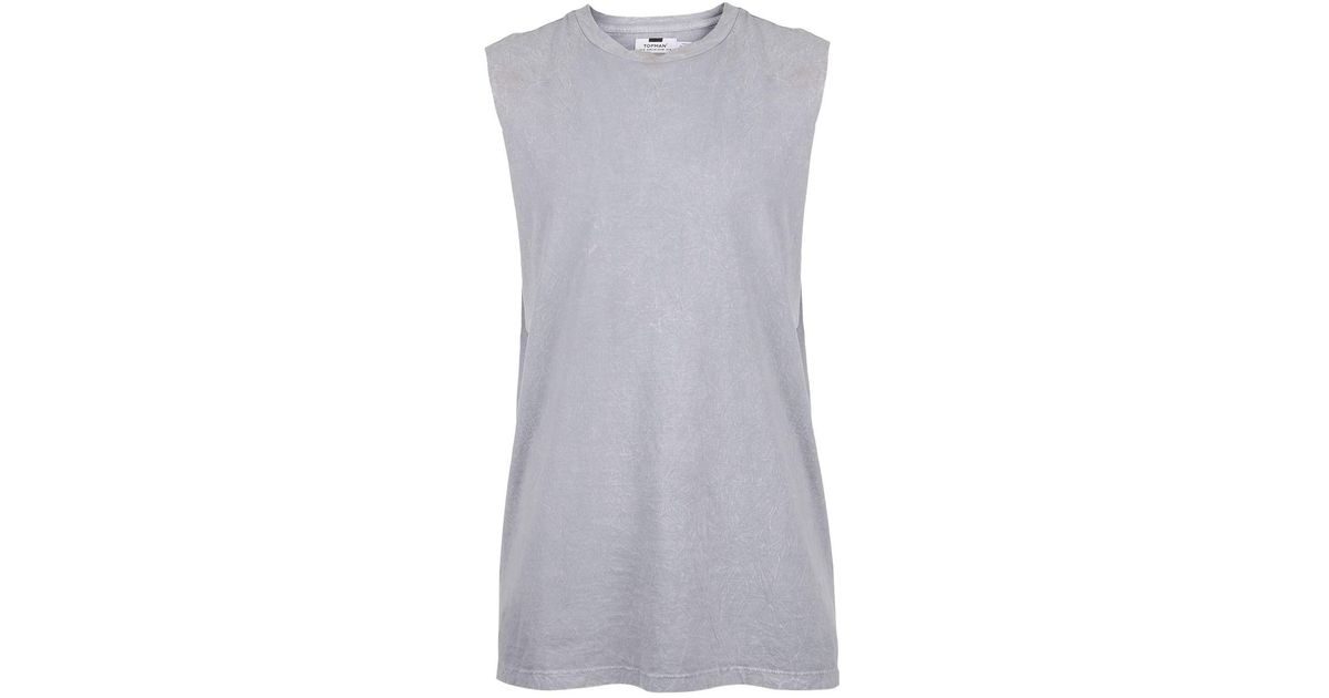148c4c29f4493 Topman Grey Crinkle Textured Tank Top in Gray for Men - Lyst