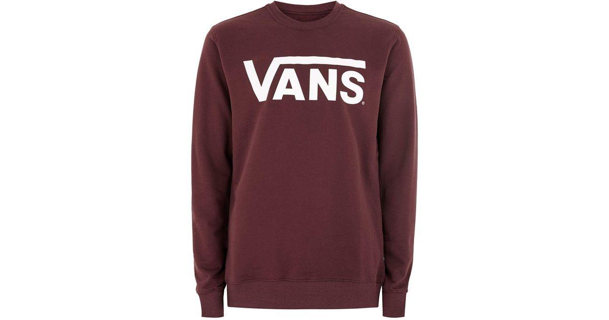 2f83f79d34cf7c TOPMAN Vans Burgundy Classic Sweatshirt in Red for Men - Lyst