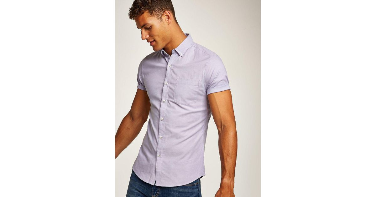 110102ac TOPMAN Lilac Stretch Skinny Oxford Shirt in Purple for Men - Save 60% - Lyst