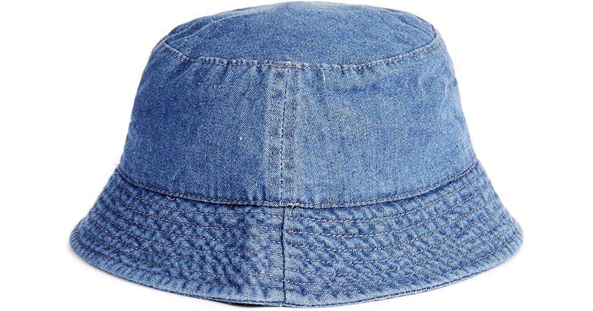 Topman Washed Blue Denim Bucket Hat In Brown For Men Lyst