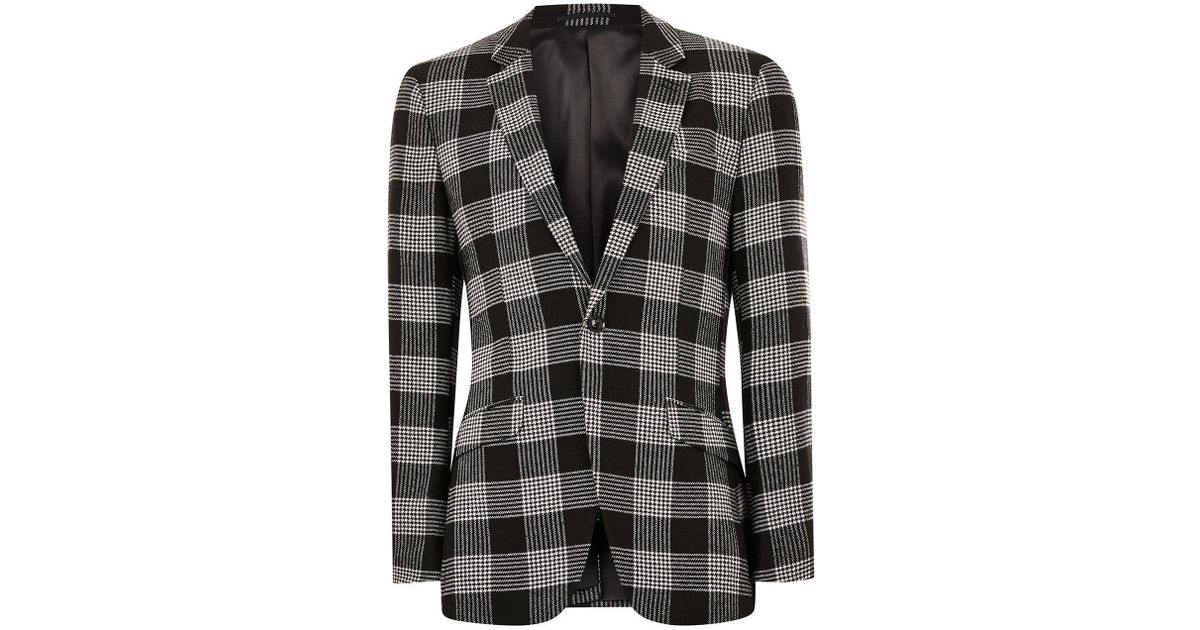 ed30ca7b30df TOPMAN White Check Slim Blazer in Black for Men - Lyst