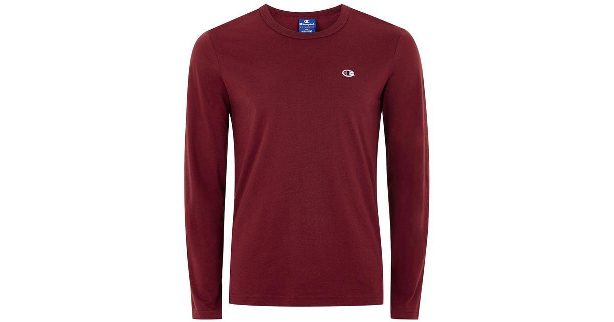 66804305 TOPMAN Champion Burgundy Logo T-shirt in Red for Men - Lyst