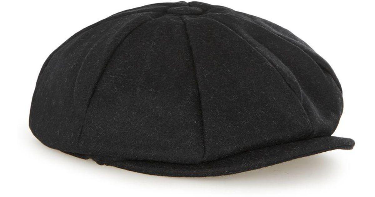 f98132d209997c TOPMAN Black Baker Boy Cap in Black for Men - Lyst