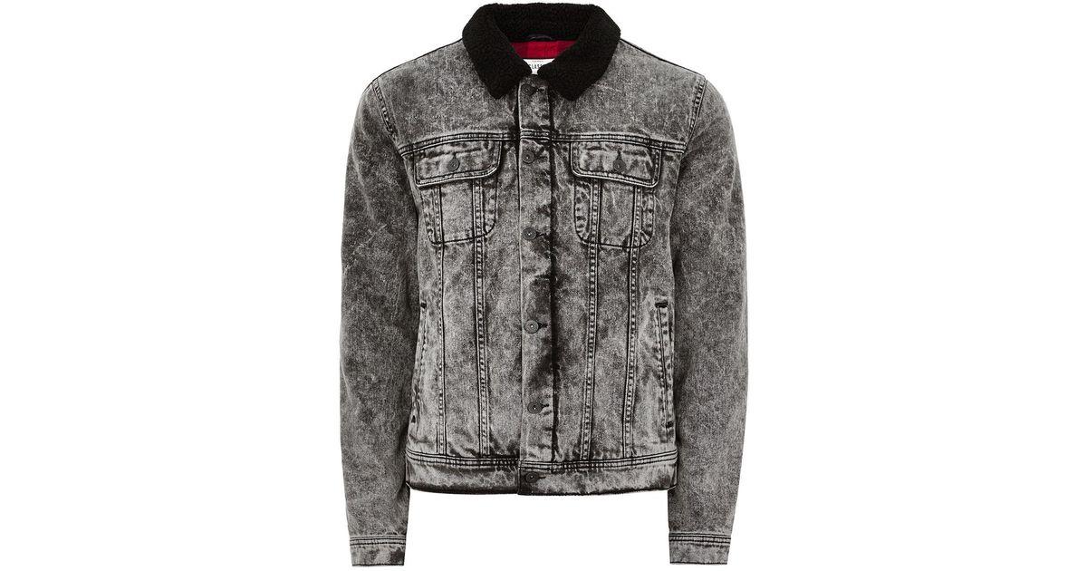 840262284d4f Lyst - TOPMAN Acid Wash Borg Collar Denim Jacket in Black for Men