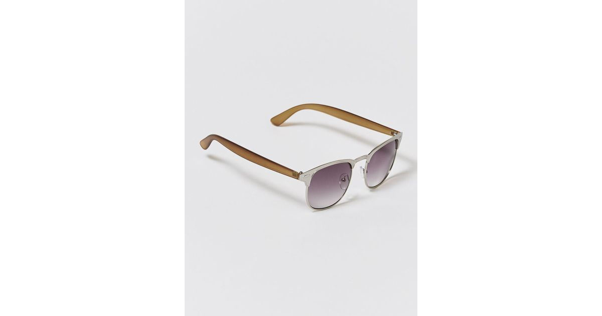 03dfd2a460 Lyst - TOPMAN Gold And Silver Half-frame Sunglasse in Metallic for Men