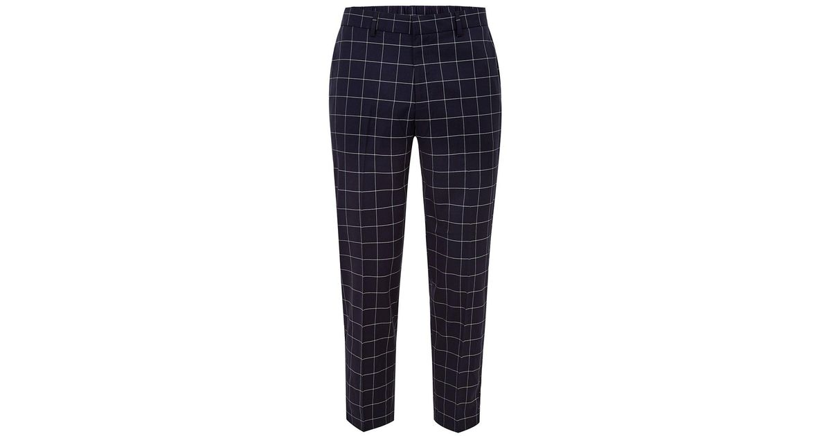 modern style detailed pictures luxury fashion Topman Blue Navy Grid Check Cropped Trouser for men