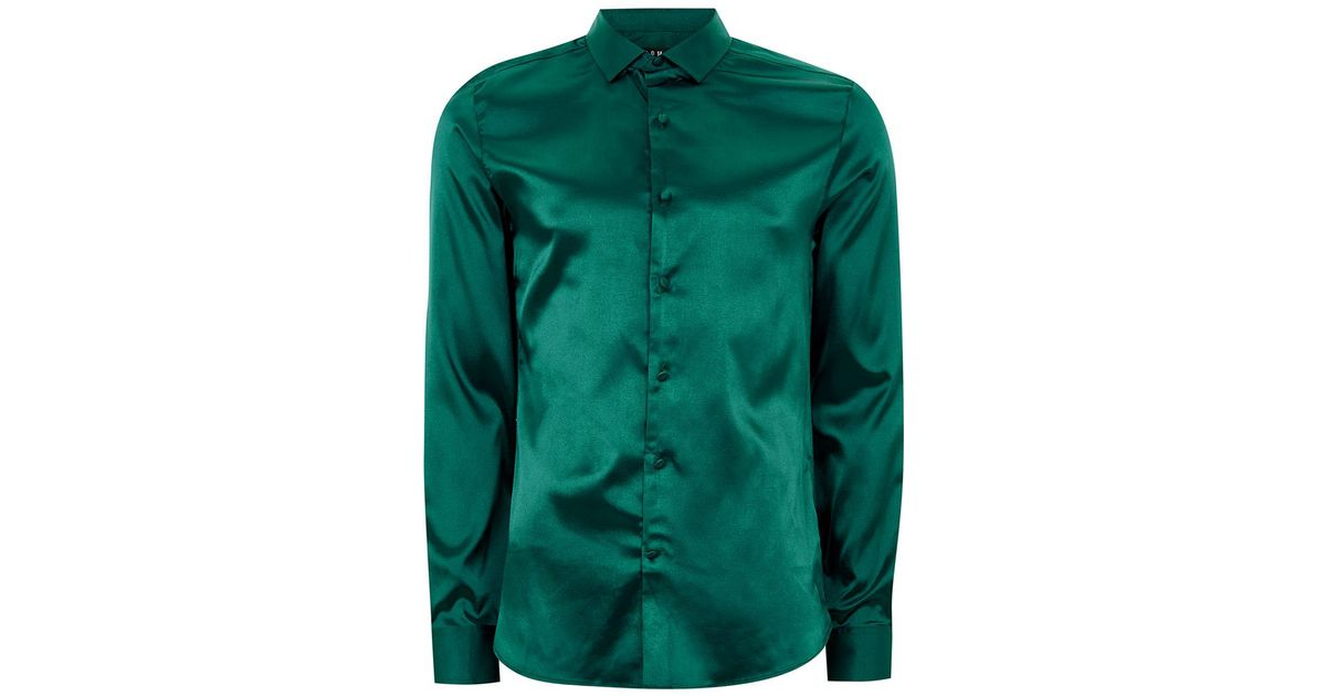 Lyst topman emerald green satin shirt in green for men Emerald green mens dress shirt