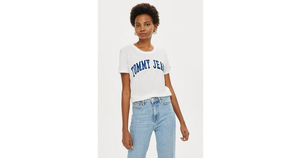 73d891dd Tommy Hilfiger Clean Logo T-shirt By Tommy Jeans in White - Lyst