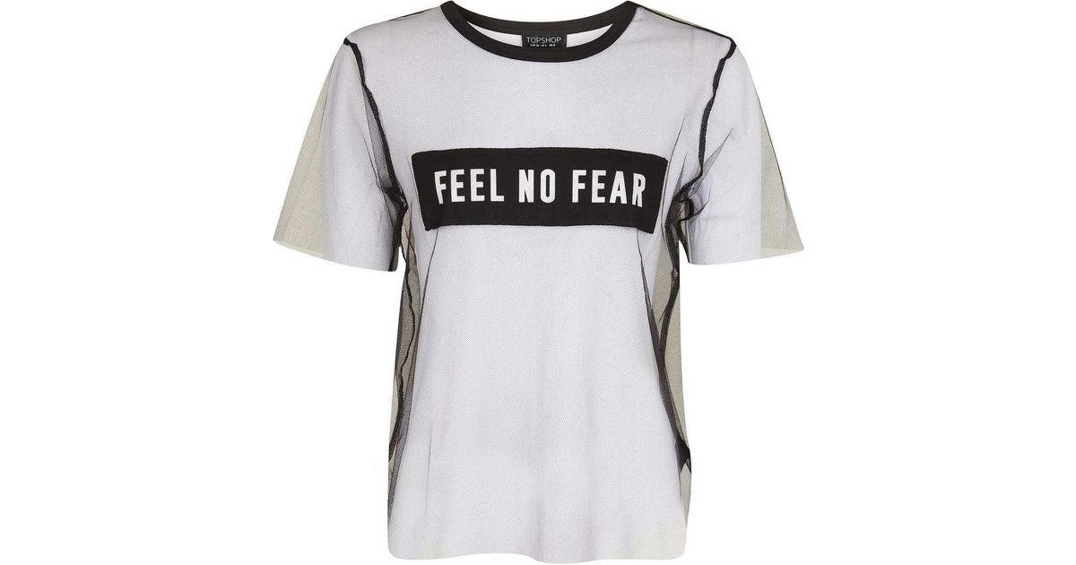 bfcbe571f97 TOPSHOP Feel No Fear Tulle T-shirt in Black - Lyst