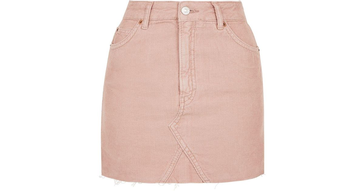 topshop moto cord mini high waist skirt in pink lyst