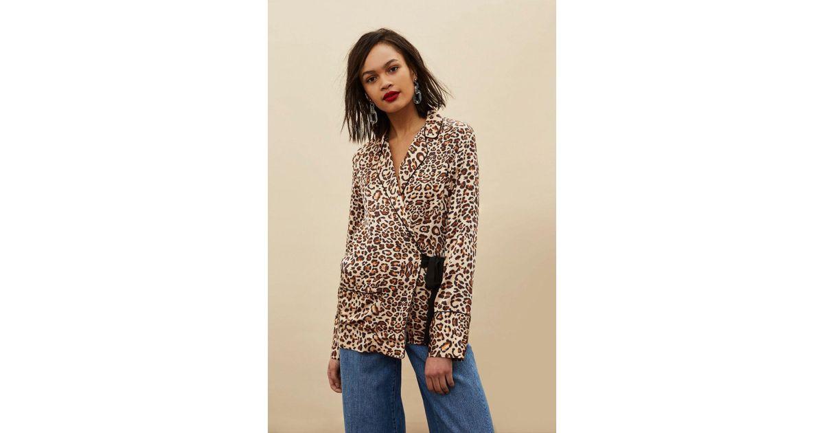Lyst - TOPSHOP Animal Print Wrap Pyjama Shirt 201cc4f20