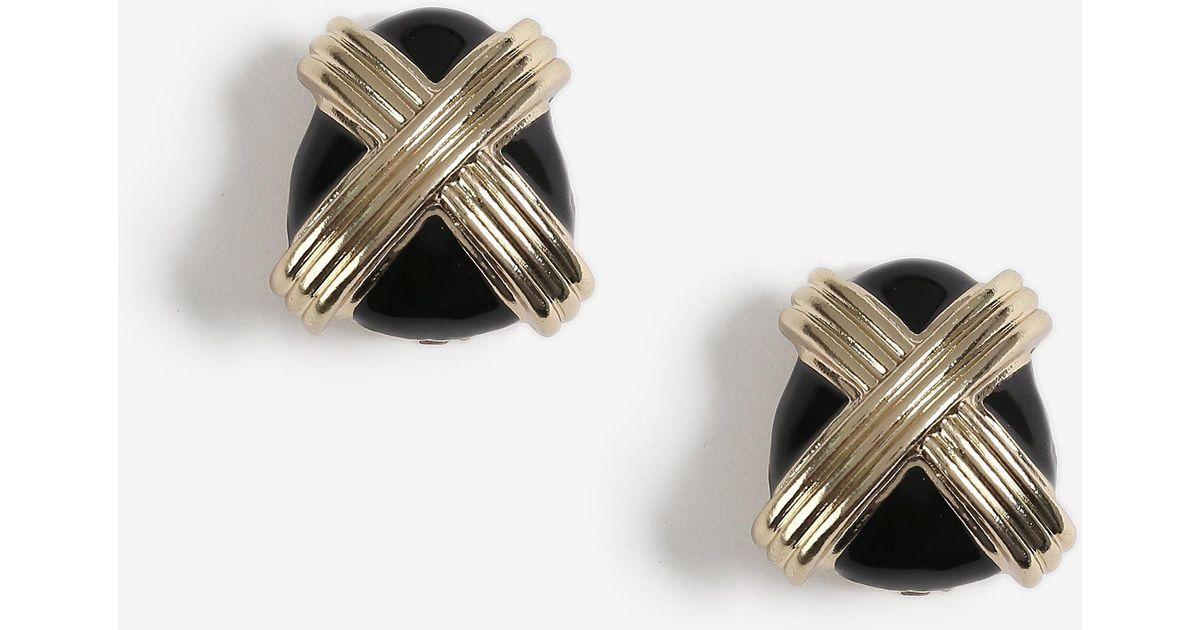 d6ffa547f TOPSHOP Crossed Enamel Clip On Earrings in Black - Lyst