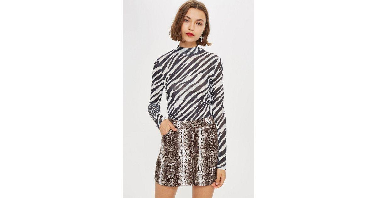 TOPSHOP Zebra Print Long Sleeve Top in Black - Lyst 1e14e4944