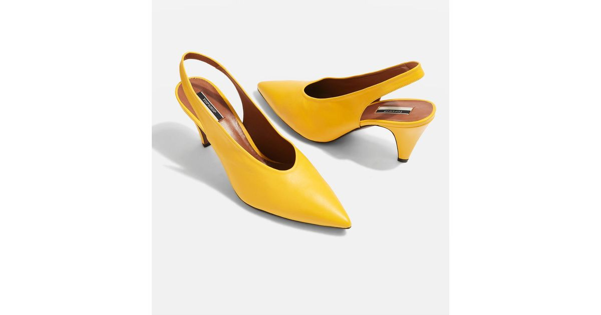 43e0ed9b67a TOPSHOP Jemma Point Mid Heel Courts in Yellow - Lyst