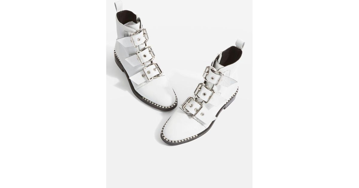 0a4d753c8360 TOPSHOP Buckle Boots in White - Lyst