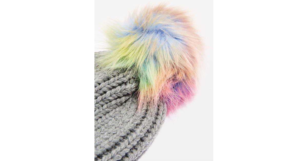 a3881139a9a TOPSHOP Rainbow Pom Pom Ribbed Beanie Hat in Gray - Lyst