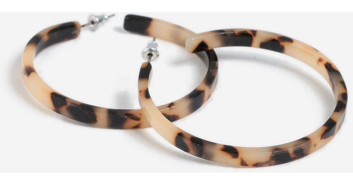 Lyst Topshop Tortoiseshell Hoop Earrings In Metallic