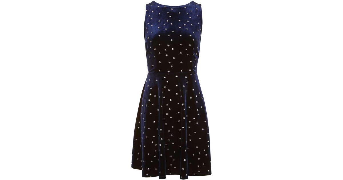 6ad29282b7e0 TOPSHOP Star Velvet Skater Dress - Lyst