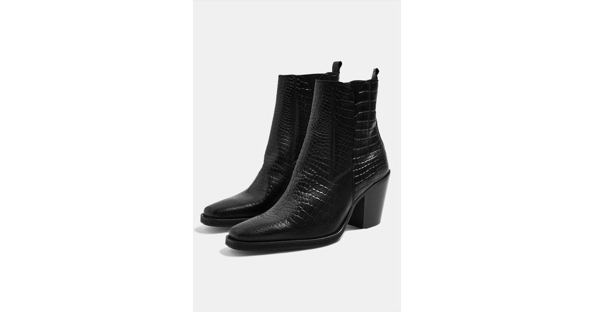 996ad2d64446 Lyst - TOPSHOP Ason Crocodile Effect Chelsea Boots in Black