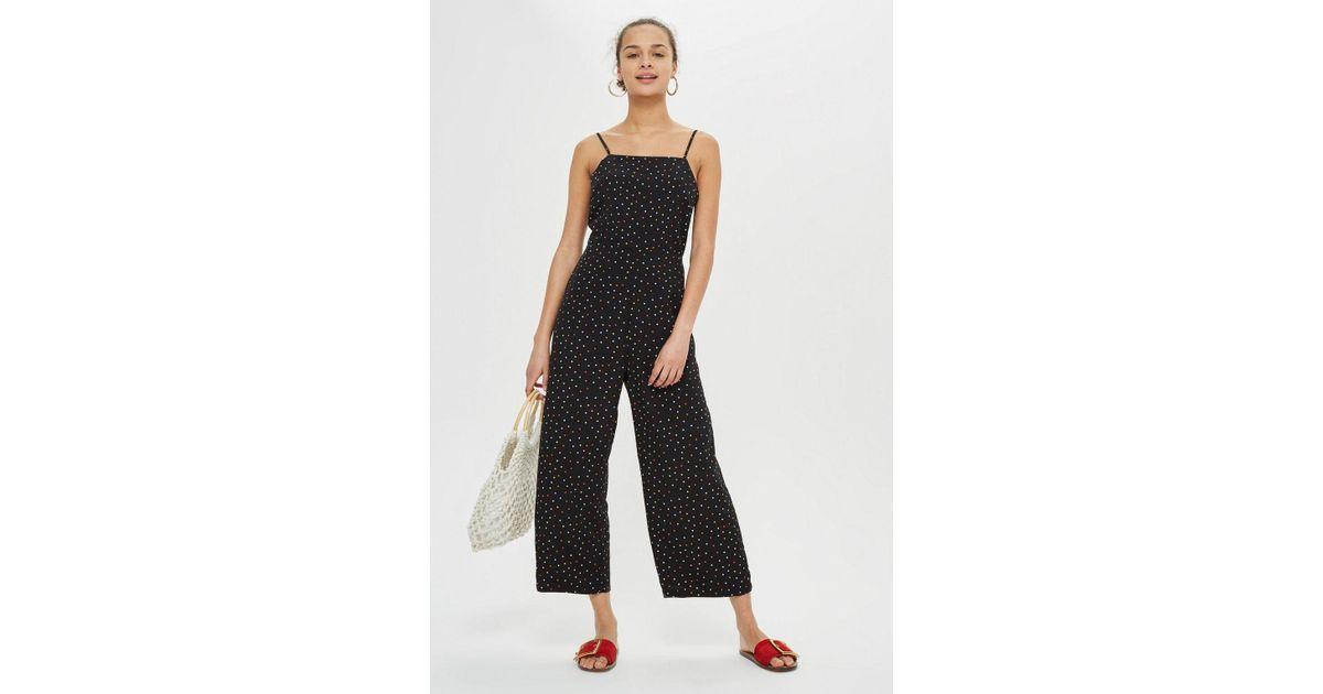 00c8f571d01 TOPSHOP Multicoloured Spot Jumpsuit in Black - Lyst