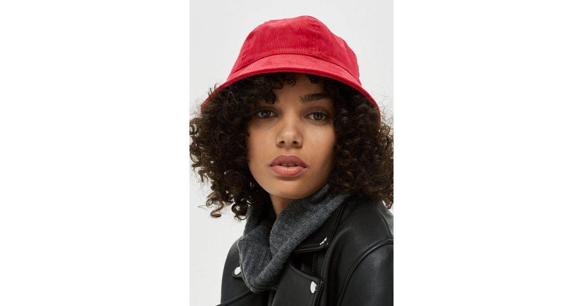 TOPSHOP Mini Corduroy Bucket Hat in Red - Lyst 9f341210827e