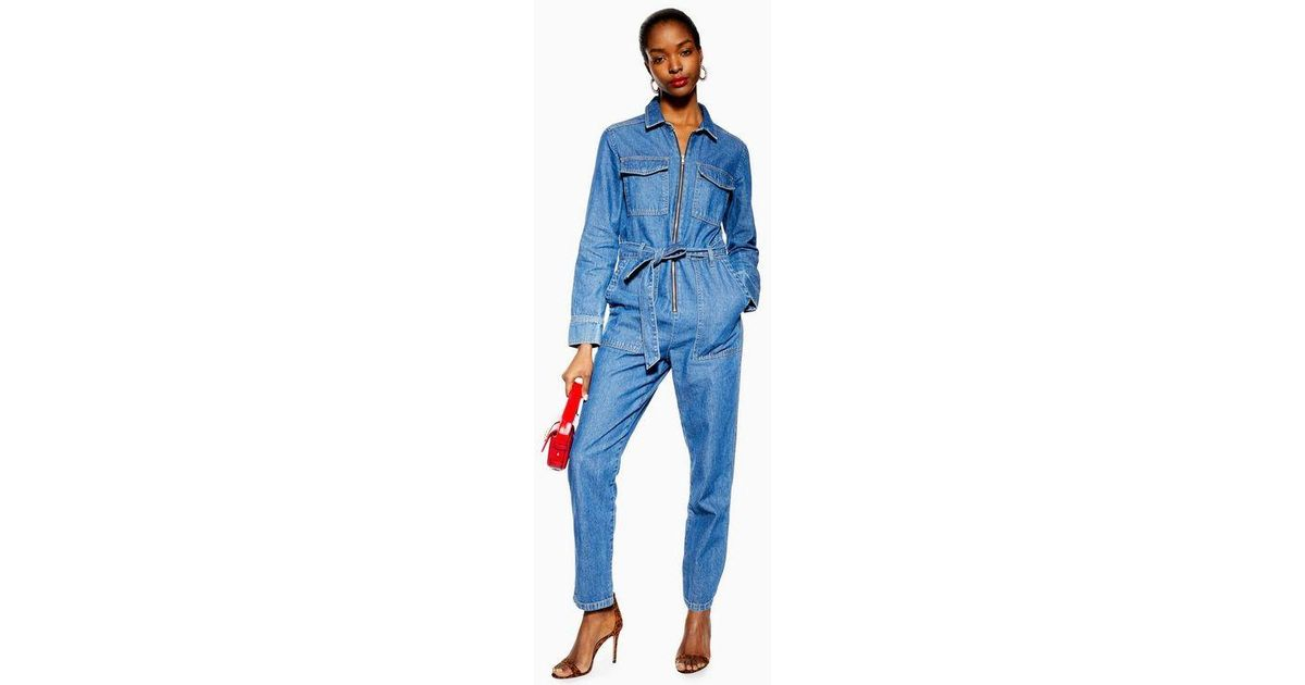 e1f5db8309e TOPSHOP Petite Denim Utility Boiler Suit in Blue - Lyst