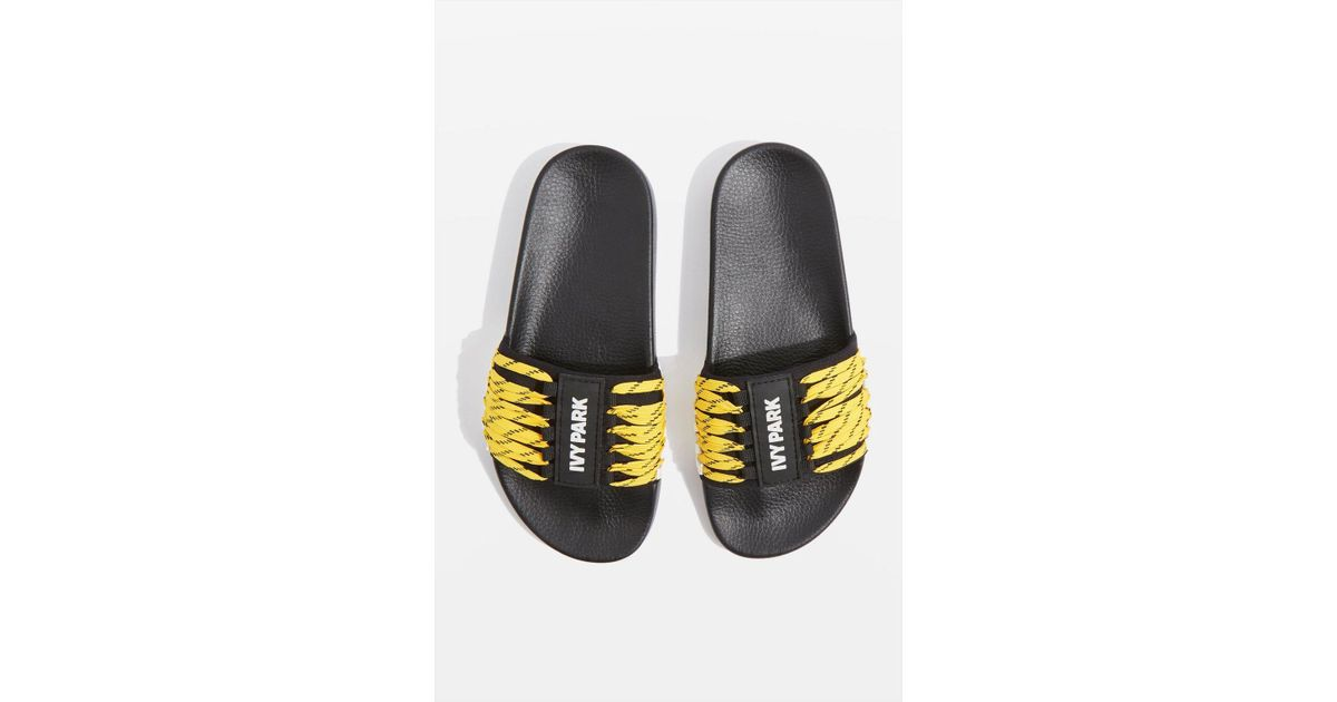 Topshop Lace Up Sliders by Ivy Park