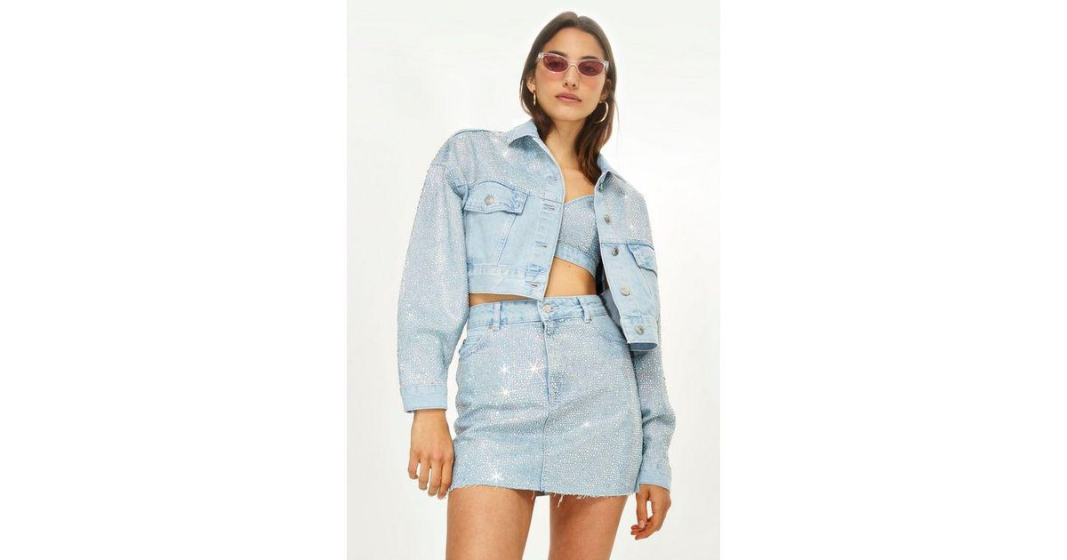 5dac69aaa TOPSHOP Diamante Denim Skirt in Blue - Lyst