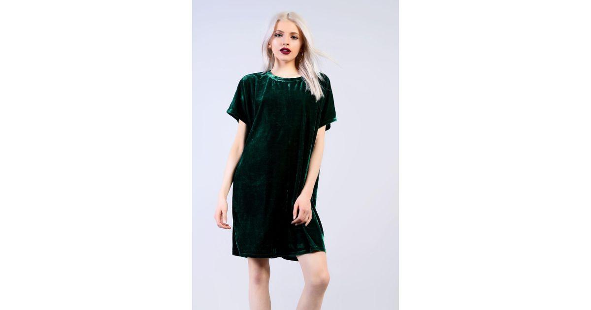 b8dddcc12a TOPSHOP Velvet T-shirt Dress By Glamorous in Green - Lyst