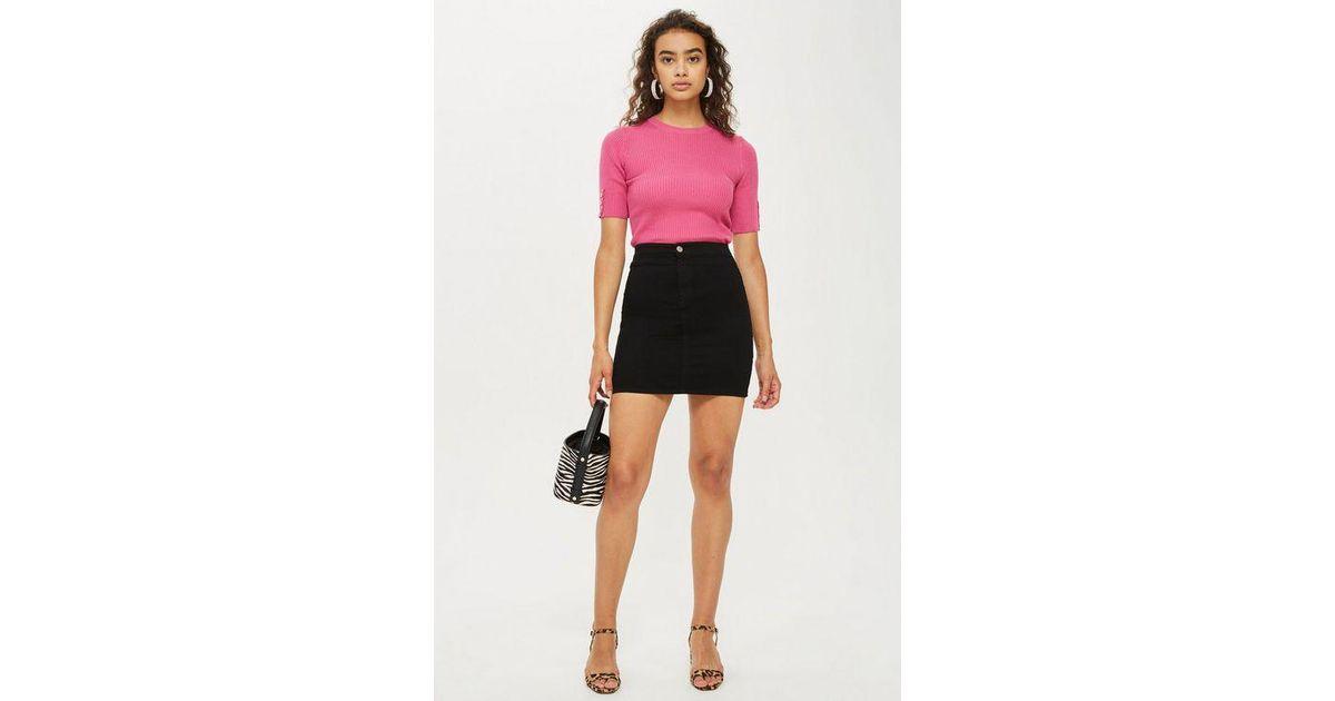 c2764aac62 TOPSHOP Petite Stretch Denim Joni Skirt in Black - Lyst