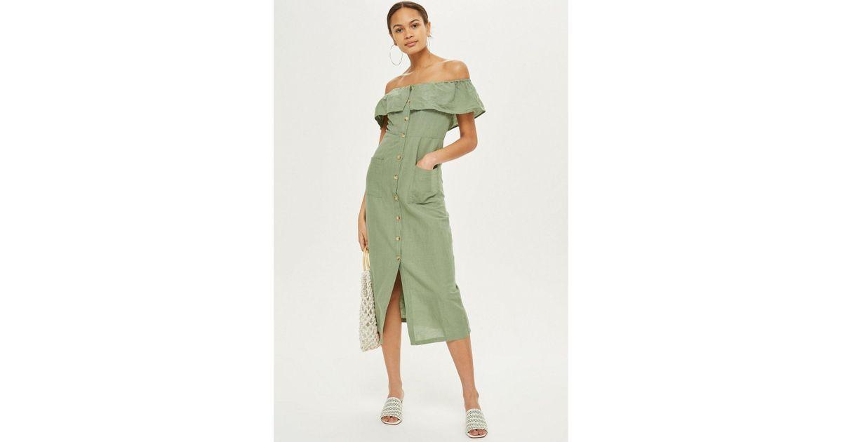 fed49bd72403aa TOPSHOP Linen Bardot Midi Dress in Green - Lyst