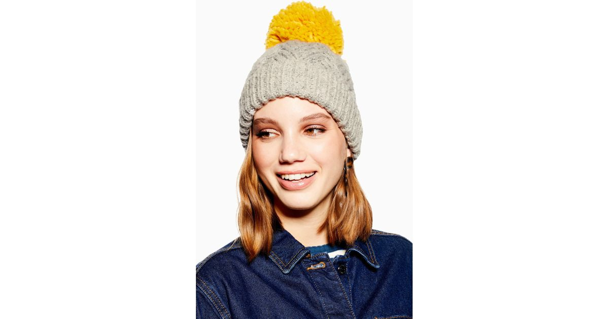 83a31bec3ba Lyst - TOPSHOP Chevron Beanie With Mustard Pom in Gray