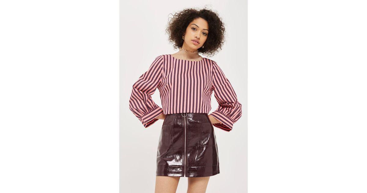 83dff911ae TOPSHOP Cracked Vinyl Zip Mini Skirt - Lyst