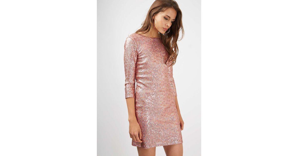 883e261b TOPSHOP Slash Neck Sequin Mini Dress - Lyst