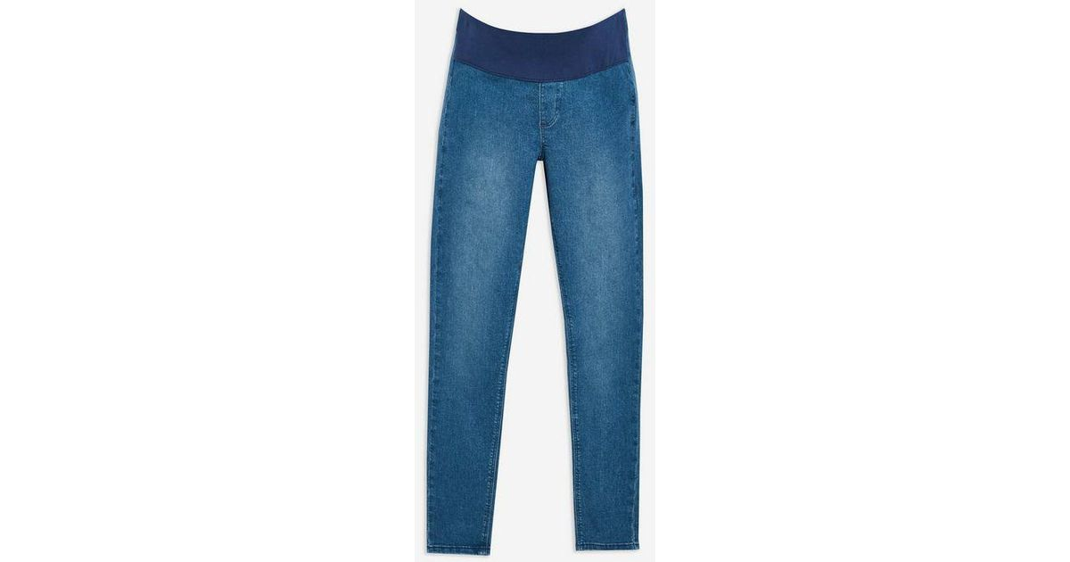 8037bb9b24415 Topshop maternity Under The Bump Joni Jeans in Blue - Lyst