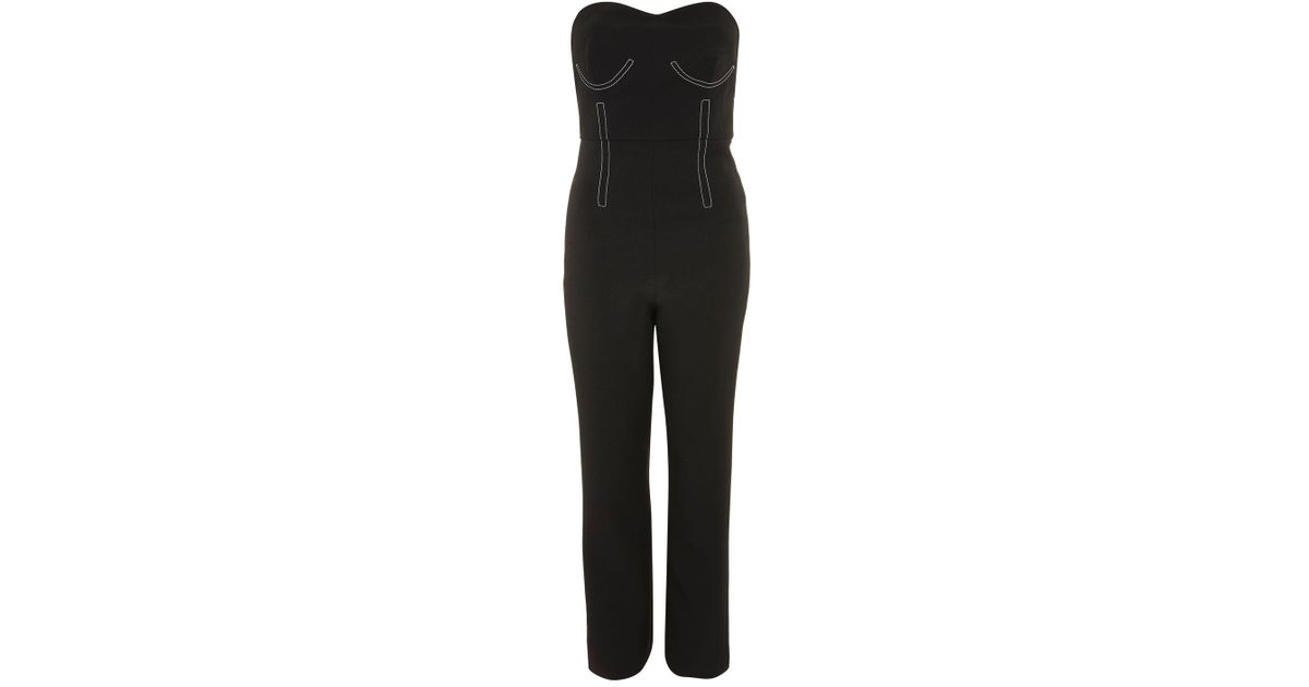 6b8a17af3bf Lyst - TOPSHOP Topstitch Jumpsuit in Black