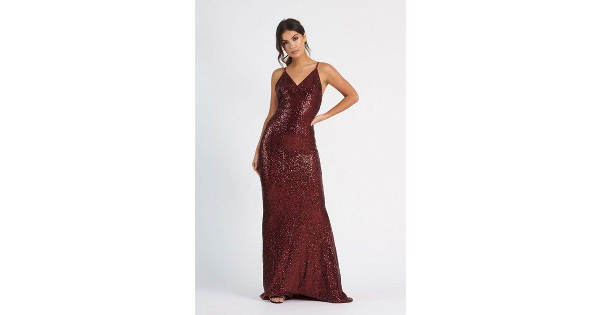feeca060765 Club L sequin Cross Back Fishtail Maxi Dress By in Red - Lyst