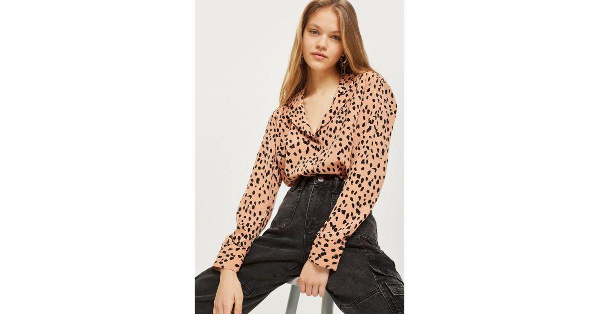 Lyst - TOPSHOP Tall Satin Animal Pj Shirt 87cc8948d
