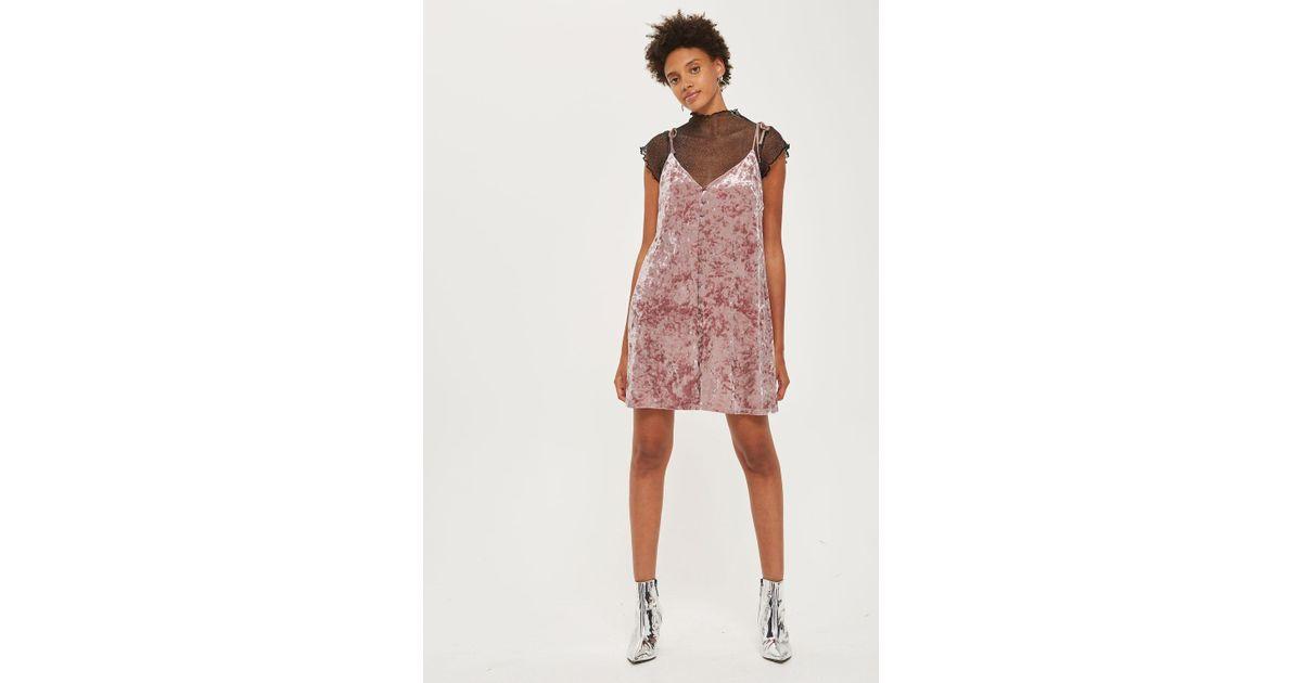 765985ec1b9d TOPSHOP Star Glitter Slip Dress in Pink - Lyst