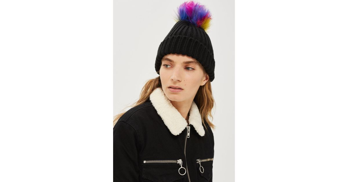 57cfed3e96f Lyst - TOPSHOP Rainbow Pom Pom Ribbed Beanie Hat in Black