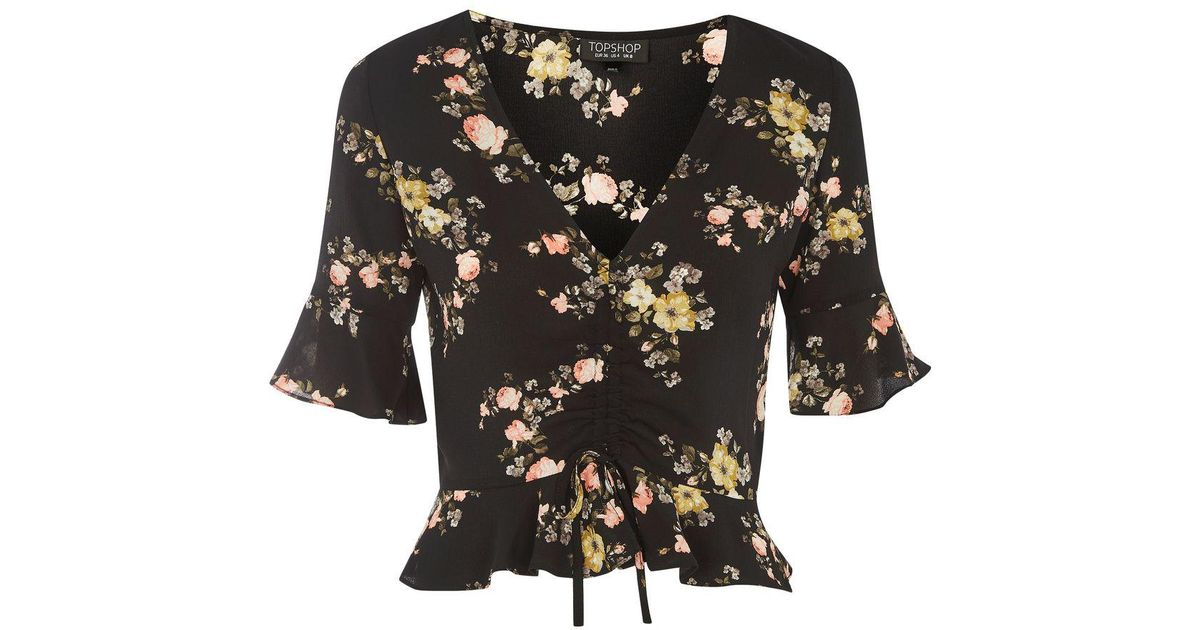 6b811ee3d58137 TOPSHOP Floral Ruched Top in Black - Lyst