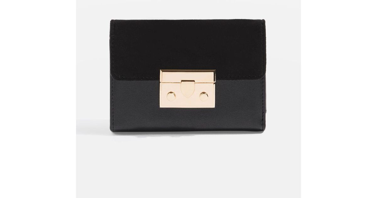 TOPSHOP Push Lock Purse in Black - Lyst 8887d3781a71